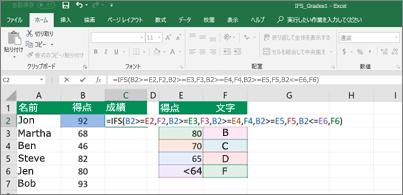 IFS を使用して学生の成績を計算する方法示したスプレッドシート