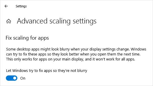 [表示スケールの詳細設定] で Windows ブラー リダクションを指定する