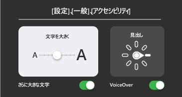 基本的なアクセシビリティ: より大きなテキストと VoiceOver の設定