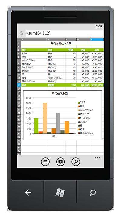携帯電話で開いた Excel ブック