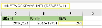 =NETWORKDAYS.INTL(D53,E53,1) と結果:261