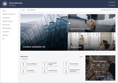 SharePoint サイト テンプレートのイベント計画のページ プレビューのスクリーンショット