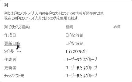 選択されている列が示されている [ライブラリの設定] の列セクションを選びます。