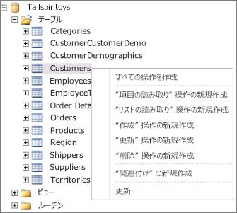 SharePoint Designer で Tailspintoys データベースを表示したスクリーンショット。 テーブル名を右クリックするとメニューが表示されるので、作成する操作を選べます。