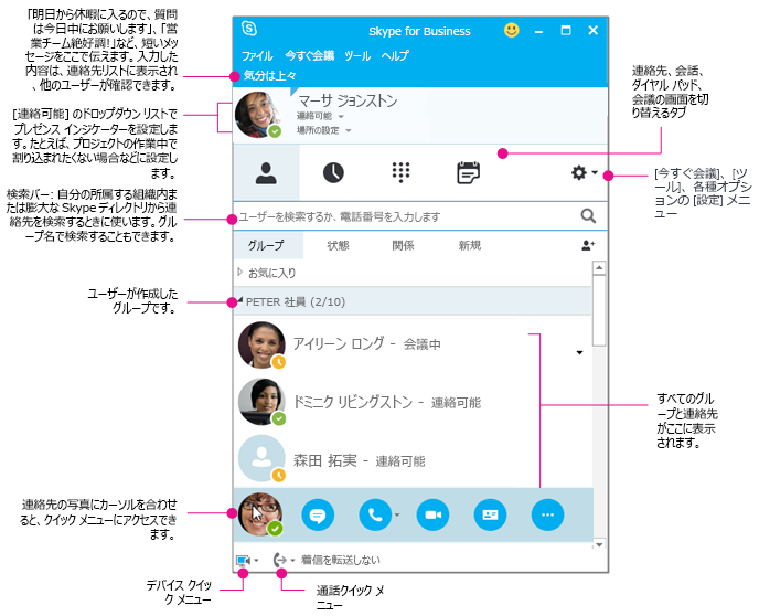 Skype for Business の [連絡先] ウィンドウの図