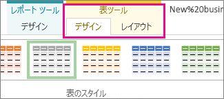 [表ツール] の [デザイン] タブの [表のスタイル]