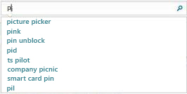 検索ボックスにはユーザーが入力した文字を含む語句が表示される