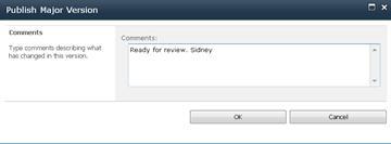 [メジャー バージョンの発行] ダイアログ ボックス