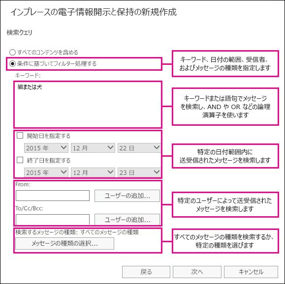 キーワード、日付の範囲、受信者、メッセージの種類などの条件に基づいて検索を作成する