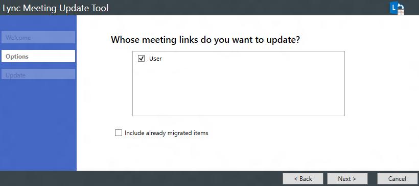 [ユーザー] チェック ボックスがオンに設定されたオプション ページのスクリーン ショット
