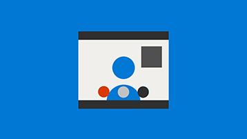 青色の背景の Skype 会議の記号