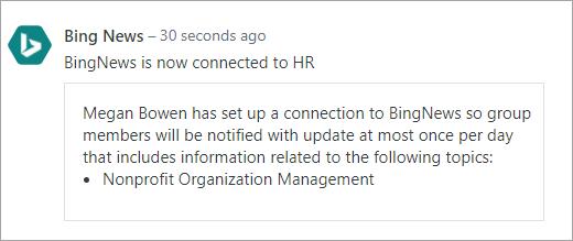 新しい接続を使用して、Office 365 に接続された Yammer グループのスクリーンショット