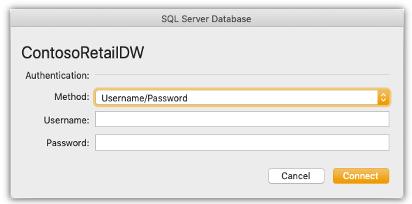 SQL Server データベースへの接続を更新するための資格情報の入力をユーザーに要求するダイアログ ボックスのスクリーンショット。