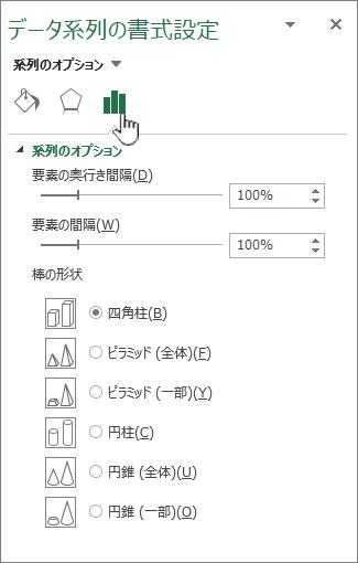 データ系列の間隔と幅のプロパティを設定する