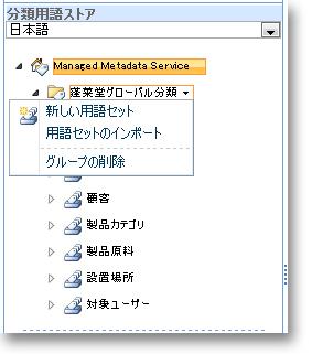 メニューを使って新しい用語セットを作成します。