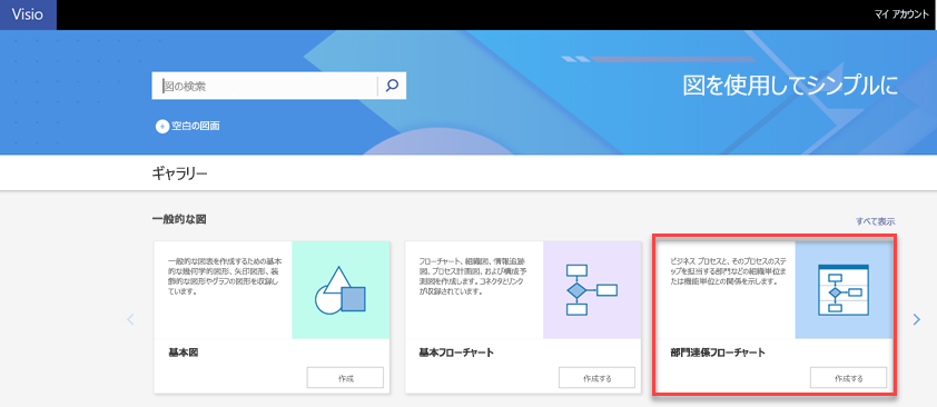 Visio Online の部門連係フローチャートテンプレート