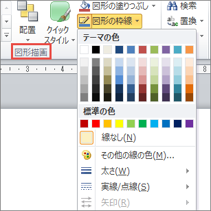 PowerPoint 2010 テキスト ボックス [図形の輪郭] メニュー