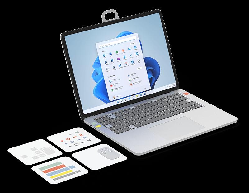 アダプティブ キット ラベルが Surface Laptop と Surface Headphones に添付されている画像。