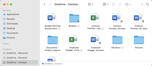 OneDriveのウィンドウの [場所] にフォルダーが表示されます。