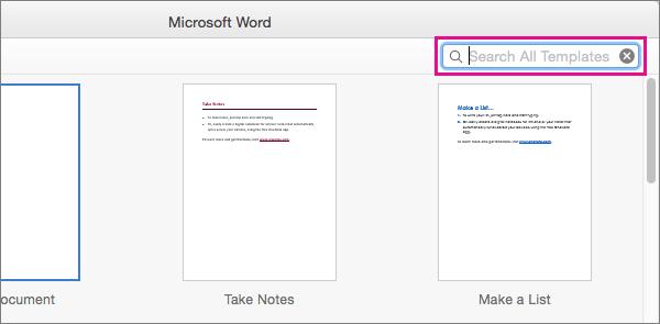 検索ボックスにキーワードを入力して、関連のテンプレートを探すことができます。
