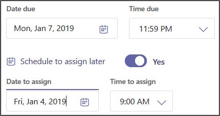 [Schedule to assign later (スケジュール設定して後で割り当てる)] トグルとドロップダウン メニュー。