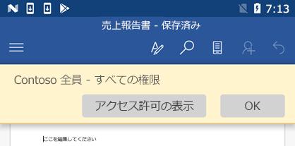 Office for Android で、IRM で保護されたファイルを開くと、割り当てられているアクセス許可を表示できます。