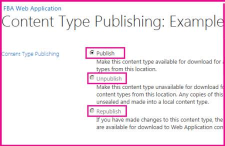 ハブ サイトの [コンテンツ タイプの発行] ページで、コンテンツ タイプの発行、再発行、または発行の取り消しを行うことができます。