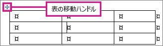 表移動ハンドルが表示された表