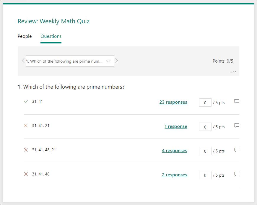 テストの質問を確認する