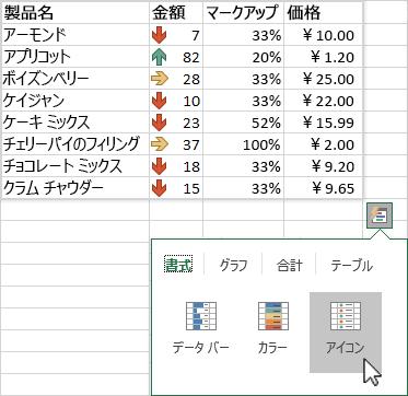 クイック分析を使用してデータを強調表示する