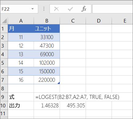 例 1-- LOGEST 関数