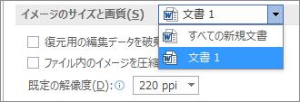 Office がファイルのサイズと画質のバランスを調整し、画像を圧縮する方法を構成する