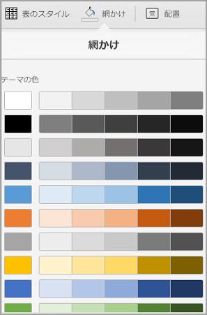 iPad の表の網かけオプション