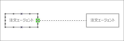 コネクタの終端が別の生存線図形にドラッグされ、コネクタ ポイントの周囲が緑色で強調表示されている