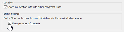 Picture options in the Skype for Business Personal options menu.