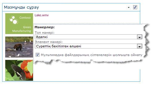 Суреттің бекітілген өлшемі параметрі қолданылған «Мазмұн сұрауы» веб-бөлігі