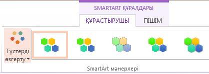 SmartArt мәнерлер тобындағы түстер түймешігін өзгерту