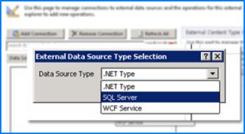 Деректер көздерінің түрін таңдайтын Байланысты қосу диалогтық терезесінің скриншоты. Бұл жағдайда түрі дегеніміз SQL Azure дерекқорына қосу үшін пайдаланылатын SQL Server сервері.