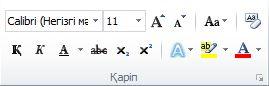 Word 2010 таспасында орналасқан Басты қойындысындағы Қаріптер тобы.