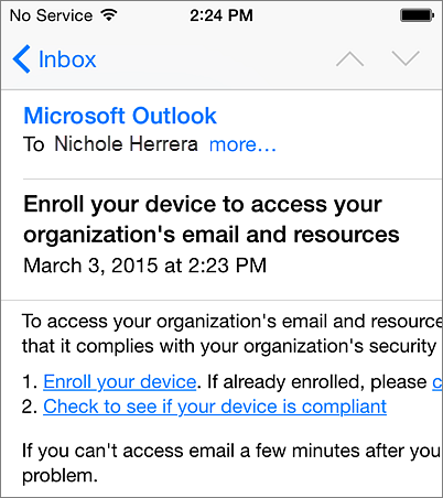 Enrollment email message on iPhone