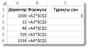 A бағанындағы сандар, $ белгісі бар B бағанындағы формула және C бағанындағы 3 саны