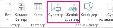Publisher бағдарламасында «Кірістіру» мәзіріндегі «Суреттерді кірістіру» параметрлерінің скриншоты.