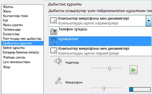 Дыбыстық орнатудың скриншоты