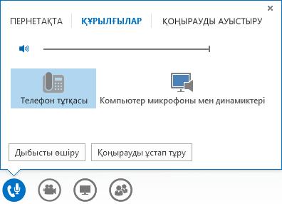 Дыбыстық қоңырау басқару элементтерінің скриншоты