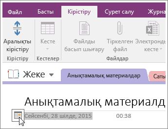 OneNote 2016 бетіндегі күн белгісін өзгерту әдісінің скриншоты.