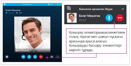 Бизнеске арналған Skype толық терезесі мен кішірейтілген терезенің скриншоттары