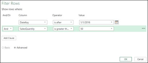 Excel Power BI қызметінің сұраулар өңдегішіндегі «Кеңейтілген сүзгі жолдары» диалогтық терезесі