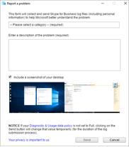 Report a Problem dialog box