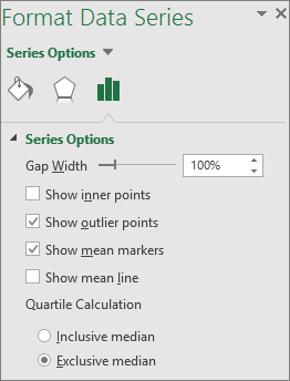 Windows жүйесіне арналған Office 2016 бағдарламасындағы «Жәшіктік диаграмма» параметрлерін көрсететін «Деректер қатарын пішімдеу» тапсырмалар тақтасы