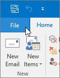 Outlook 2016 бағдарламасындағы «Файл» мәзірінің скриншоты